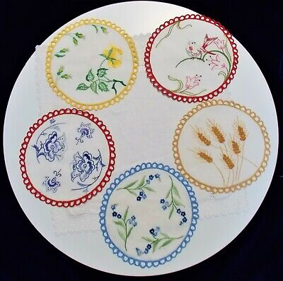 Vintage Set of 5 Hand Embroidered Doilies with Picot Edges