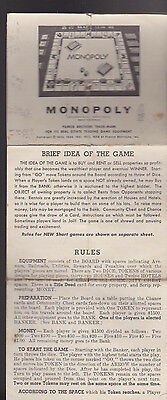 Parker Brothers Monopoly Rules - Monopoly Rules 1954 Parker Brothers