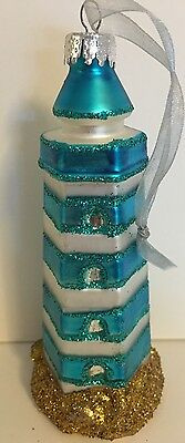 GLASS LIGHTHOUSE XMAS ORNAMENT BY COASTAL COLLECTION BLUE  SILVER GOLD GLITTER