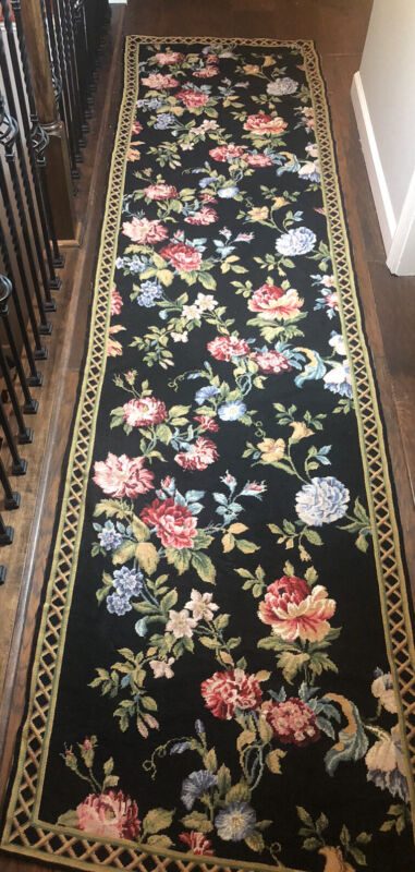 Vintage ROSES Floral Needlepoint TAPESTRY RUG Hand Stitched BEAUTIFUL