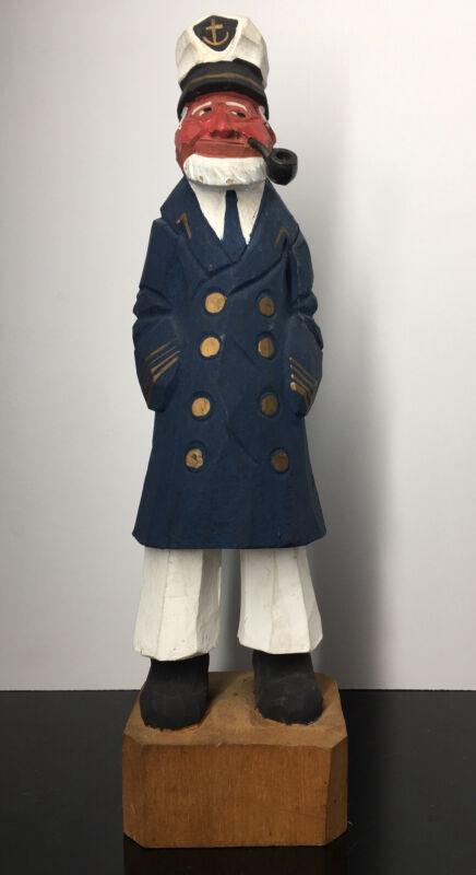 LARGE Vintage Wood Carved Captain Sailor