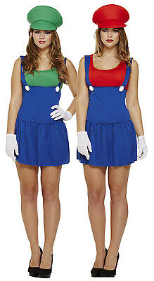 Ladies Mario + Luigi Couples Fancy Dress Costume Outfit Girls Lady Plumber - Girls Mario Kostüm
