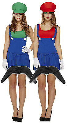 Ladies Mario + Luigi 80s 90s Fancy Dress Costume Outfit Lady Plumber+ Moustache - 80's 90's Outfits