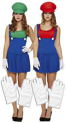 Ladies Mario + Luigi 80s 90s Fancy Dress Costume Outfit Lady Plumber+ Gloves - 80's 90's Outfits