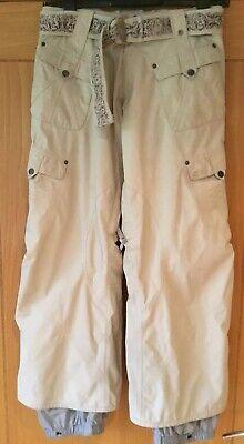Women's Burton Chino Style Snowboard Ski Trousers w/ Belt & Embroidery-Stone - S