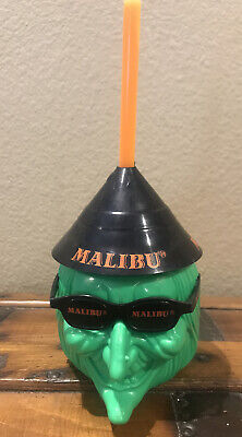Vintage Malibu Caribbean Rum Halloween Witch Plastic Blow Mold Drinking Party