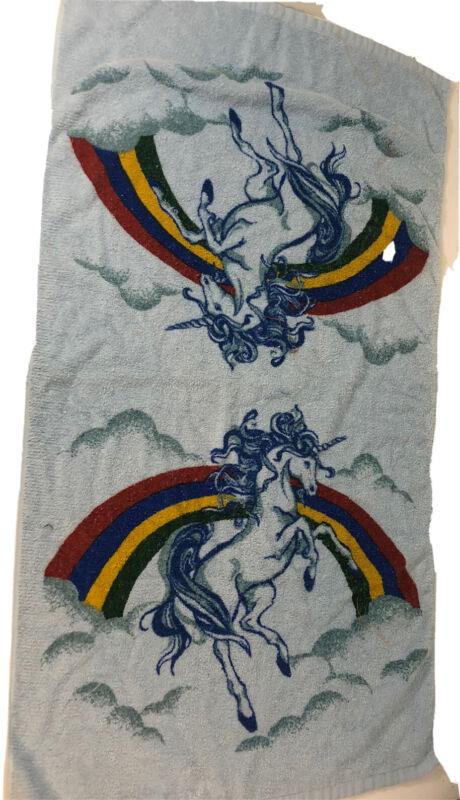 "Vintage Unicorn Rainbow  Bath Towel Blue 22 x 40"""