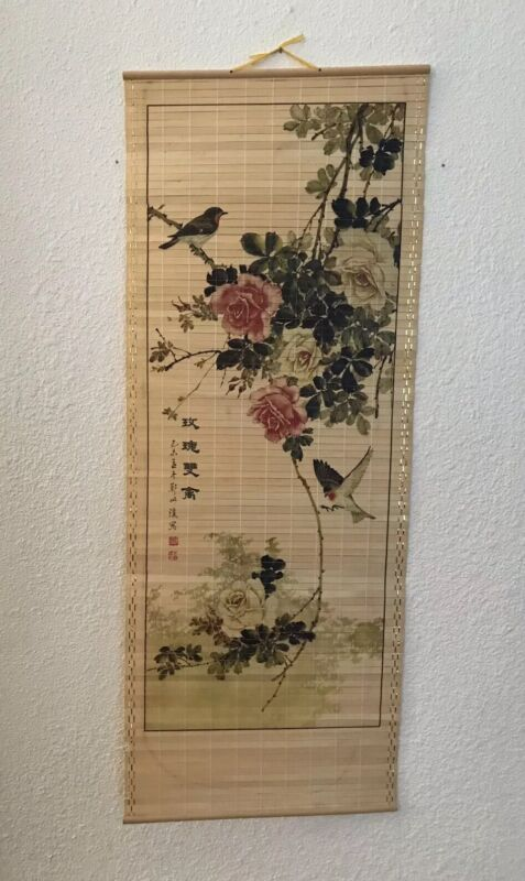 """Vintage Japanese Floral and Bird Hanging Scroll, Signed, 12"""" X 33"""".  Wood Slats"""