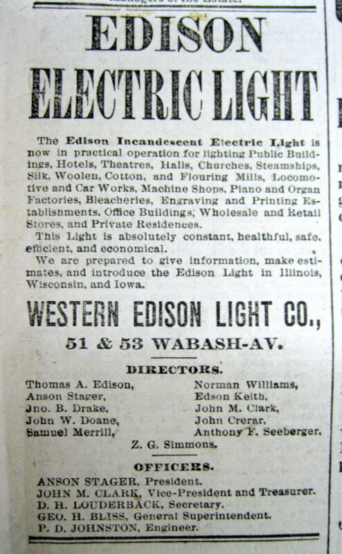 1882 newspaper THOMAS EDISON invents ELECTRIC LIGHT forms COMMONWEALTH EDISON CO