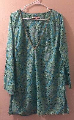 Victorias Secret Lightweight Cotton Drawstring Cover Up Tunic Top Blouse Sz M/L Cotton Lightweight Cover Up