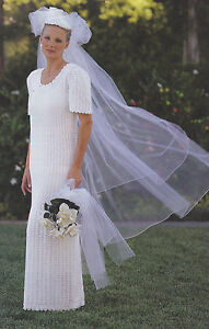 Crochet wedding dress pattern ebay crochet pattern ladies bridal gown wedding dress instructions junglespirit Images