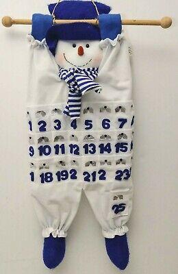 """Vintage Plush Advent Calendar 38"""" x 12"""" Adorable  White and Blue Snowman"""