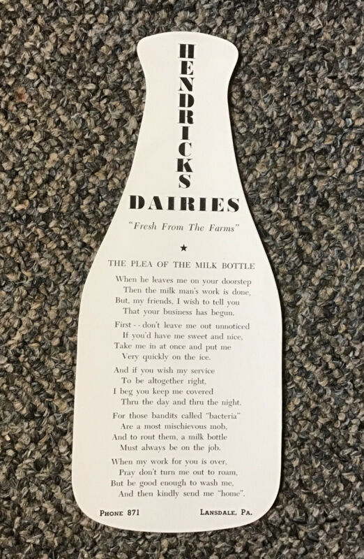 Hendricks Dairies Dairy Lansdale PA 1930s Advertising Milk Bottle Ink Blotter