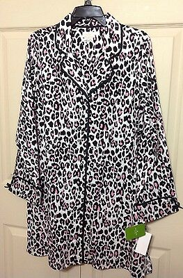 NWT KATE SPADE NEW YORK ANIMAL PRINT SATEEN LS BUTTONED LARGE SLEEP-SHIRT  $88