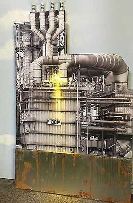 "O Scale Scratch Built ""The Oil Refinery"" Tank Industrial Front/Flat MTH Lionel"