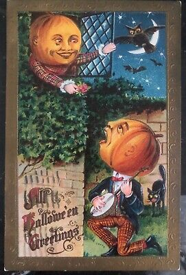 1910 Troy NY Usa Picture Postcard PPC Cover All Halloween Greetings