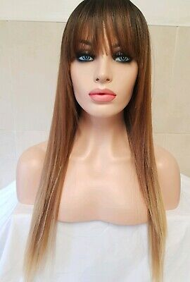 Brown human hair wig, Lace Front Wig, Bangs Fringe Wig, ombre, dip dyed  Ombre Fringe