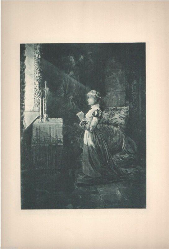 "1896 Photogravure Steel Etching Art Print ""St. Agnes"