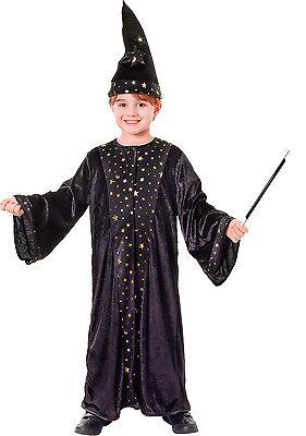 Deluxe Zauberer Kostüm + Zauberstab Robe Hut Gr.122-134 Samt Magier - Deluxe Samt Kostüm