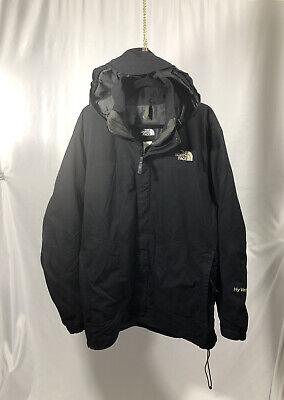 The North Face Mens HyVent Black Hooded Brim Rain Parka Jacket Coat Free Shippin