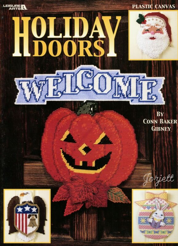 Holiday Doors ~ 7 Classic Decor & Greeting Signs plastic canvas pattern book NEW