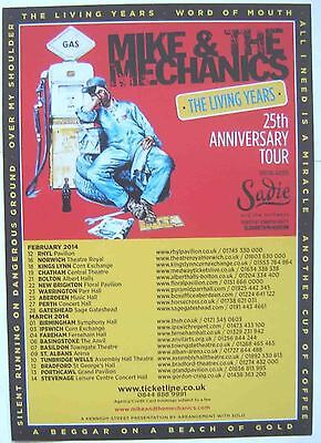 MIKE & THE MECHANICS : Anniversary Tour -CONCERT FLYER- 2013 MINT