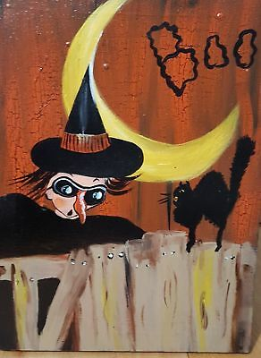 *~* VTG HALLOWEEN *~* POSTCARD WITCHES WITCH *~*FOLK ART*~* Painting HP ](Halloween Folk Art Paintings)