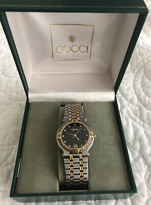 GUCCI Men's Diamond Bezel Watch 9000M Gold Stainless Steel Vintage Authentic