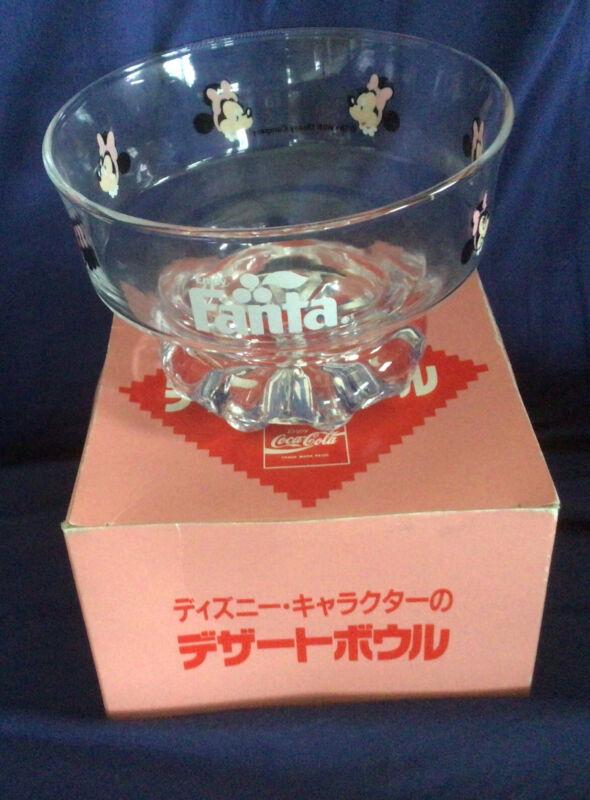 NOS Vintage Minnie Mouse Fanta Japan  glass bowl Okinawa Coke Coca Cola Disney