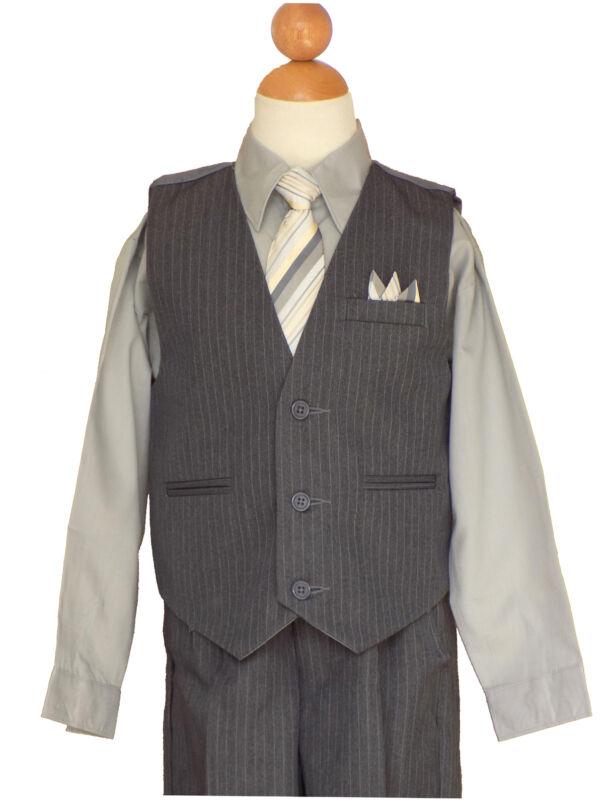 Pinstripe Boys Recital, Easter, Wedding, Vest Suit Set, Gray/Silva ,Sz: 2T to14