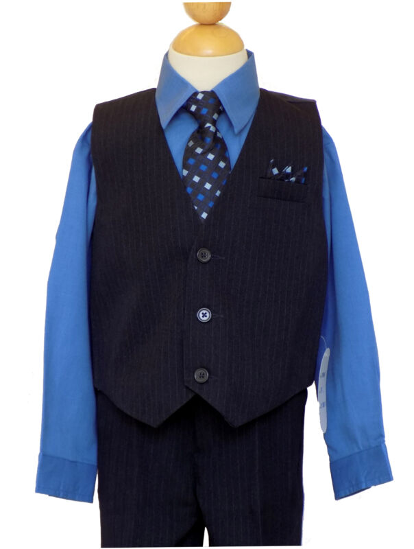Pinstripe Boys Suit Set,Victoria Blue/Black,Sz: 6