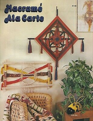 Macrame Ala Carte Vintage Pattern Instruction Book New 1977 Leisure Time