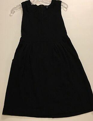 GAP Womens Size 4 Sleeveless Black V Neck Dress Pleated Skirt Rayon Spandex