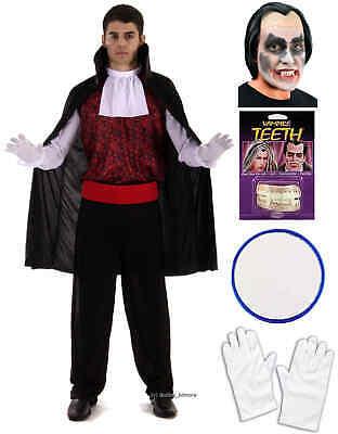 Teeth Paint Black Halloween (Vampire Dracula Mens Adult Halloween Fancy Dress Costume Wig Teeth Face Paint)