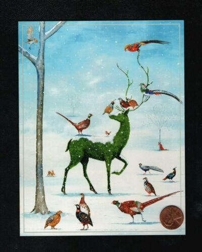 CASPARI Christmas Reindeer Topiary Birds  Pheasant  - Greeting Card W/ TRACKING