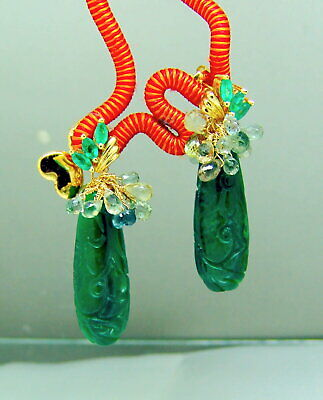14k Gold Carved Jade Emerald Green Sapphire Briolette Gemstone Earrings