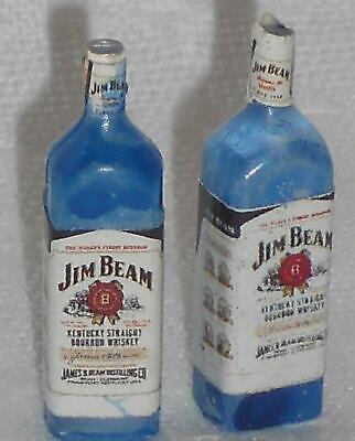 Whisky-Flasche Jim Beam, 2 Stück, Maßstab 1:12,Miniatur f.d. Puppenstube  #01#