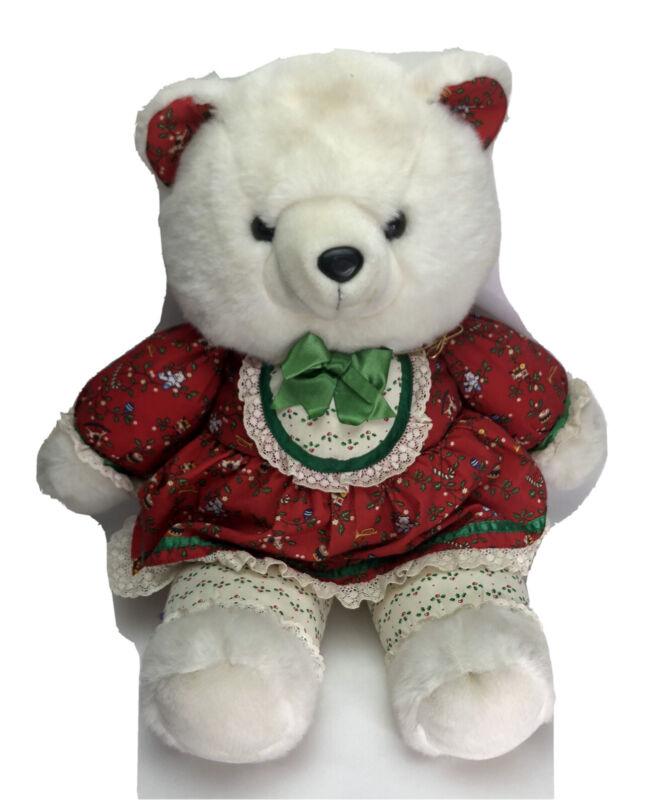 """1991 23"""" White K Mart Christmas Teddy Bear Red Dress Girl Rare"""
