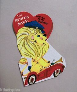 Vtg-Valentine-Card-Mod-Yellow-Dressed-Lion-Drives-Red-Convertible-Car-70s-UNUSED