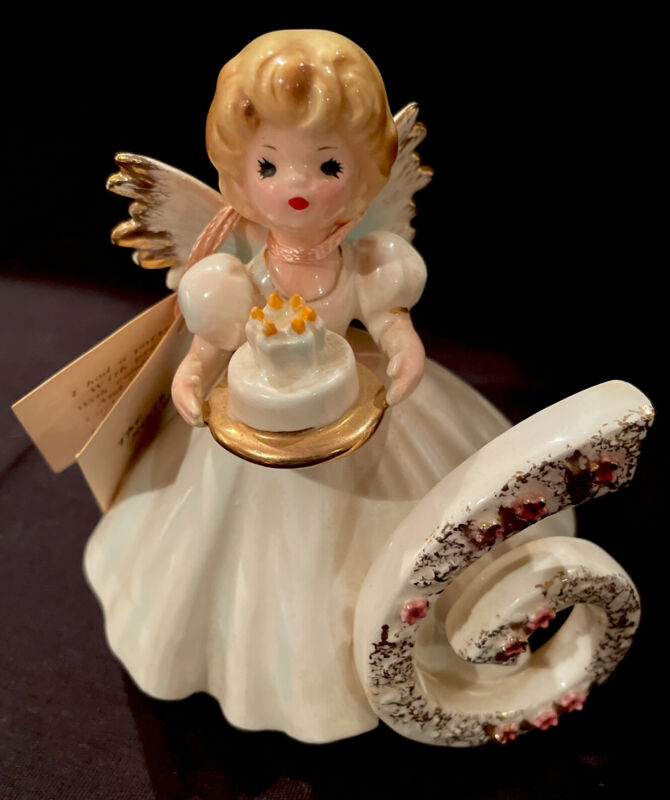 "Vintage Josef Originals 6 Year Old Birthday Angel Girl Figurine 4"" Pastels"