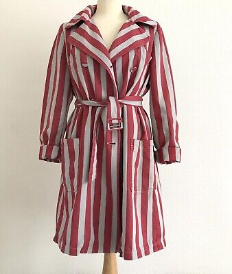 ALEXANDER MCQUEEN MCQ Red & Grey Stripe Relaxed Fit Trench Coat Belt UK12 EU40