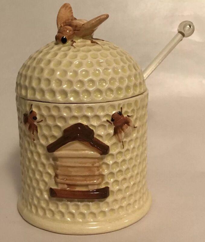 Josef Originals Honey Pot Jar Beehive Bees with Dipper Label Honeycomb Japan C1