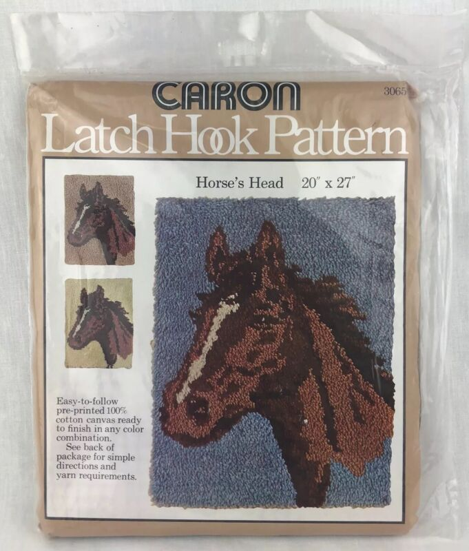 Caron Latch Hook Pattern Horses Head Pony NOS Printed Canvas Pattern