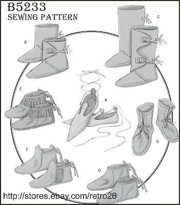 Renaissance Boot Pattern (B5233 Sewing Pattern Renaissance Historical Footwear Slippers Boot)