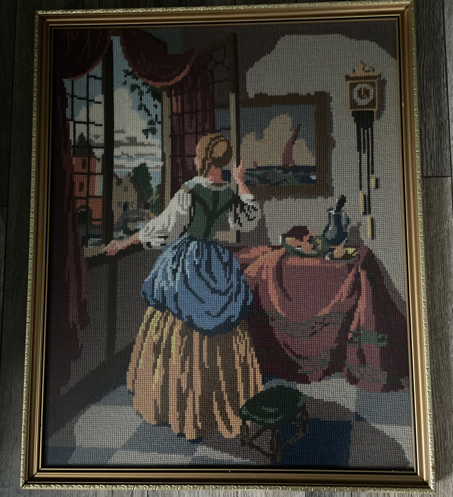 Vintage Victorian Lady – A Room With A View Hand Stitched Tapestry Tapestries