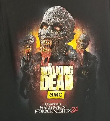 Halloween Horror Nights Shirt Men Medium Black HHN24 Walking Dead AMC Zombies
