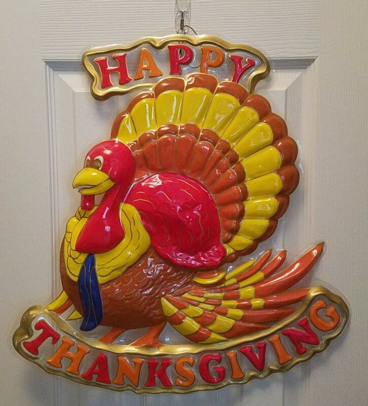Vintage Plastic Molded 3d Wall Hanging Happy Thanksgiving Turkey