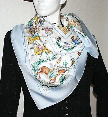 Auth Hermes Scarf COSTUMES CIVILS ACTUELS 90cm Silk Carre Light blue - Hermes Costumes