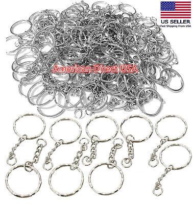 25 PCS Keyring Blanks Silver Tone Key Chains Findings Split Rings 4 Link (Key Chain Rings)