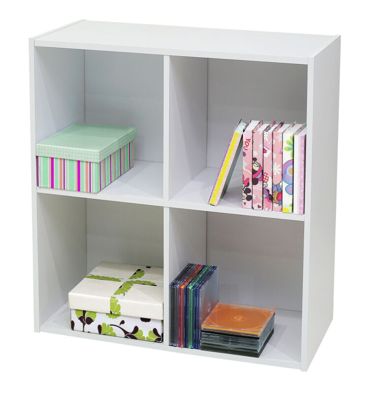 Kings Brand Furniture - White Wood 4 Cube Organizer Storage Bookcase